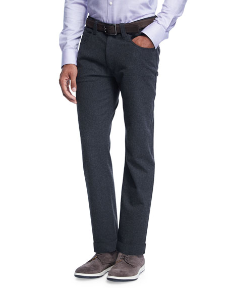 Armani Collezioni Flannel Five-Pocket Pants
