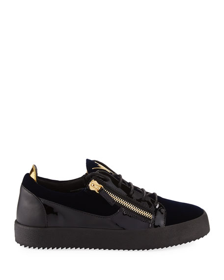 Men's Velvet & Patent Leather Low-Top Sneakers