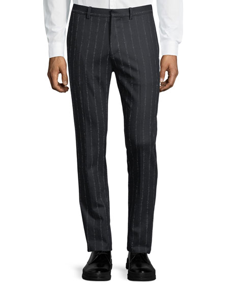 Theory Zaine TT Wool-Blend Striped Pants