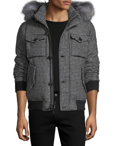 Houndstooth Parka with Fur-Trim Hood
