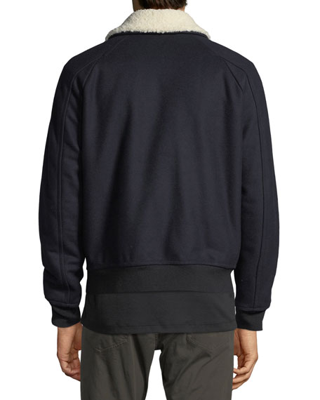 Wool Melton Bomber Jacket