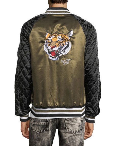 Embroidered Satin Souvenir Bomber Jacket