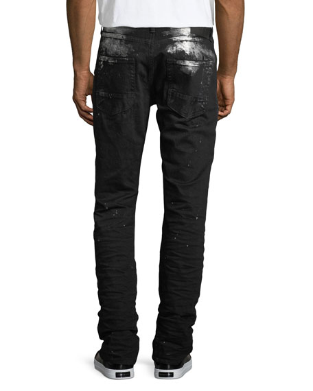 Demon Paint-Splatter Slim-Straight Jeans