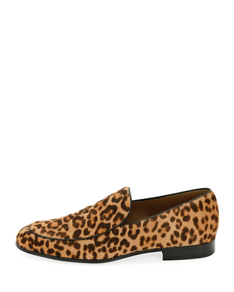 Marcello Men's Leopard-Print Calf Hair Loafer, Leopard