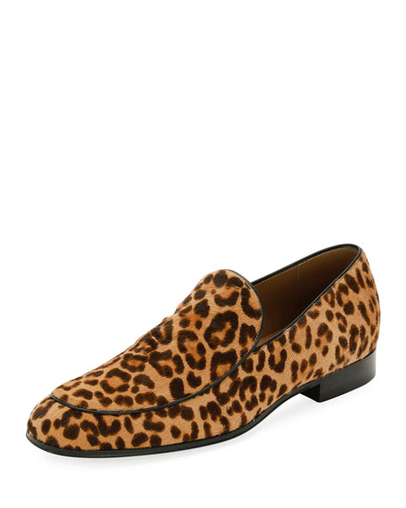 Gianvito Rossi Marcello Men's Leopard-Print Calf Hair Loafer,