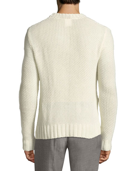 Air-Spun Seed-Stitch Cashmere Sweater, Cream