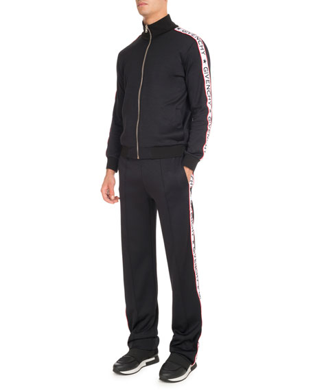 Track Pants with Logo Taping, Black