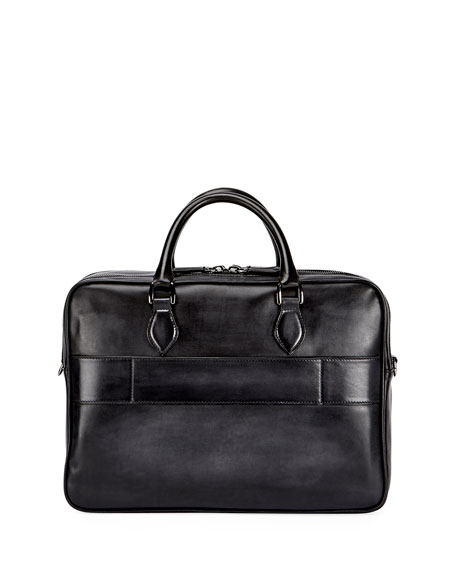 Deux Jours Calf Leather Briefcase, Nero Grigio