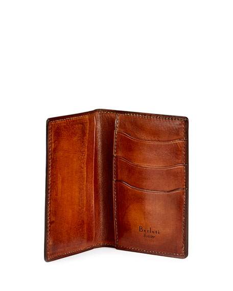 Jagua Scritto Leather Card Case, Tobacco