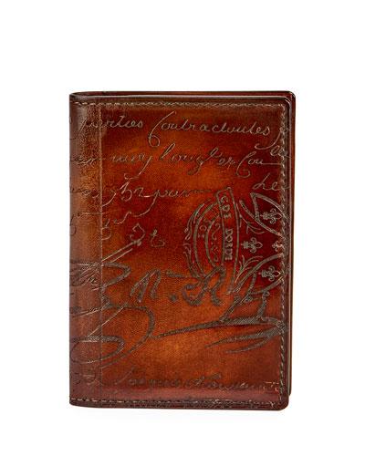 Jagua Scritto Leather Card Case, Tobacco
