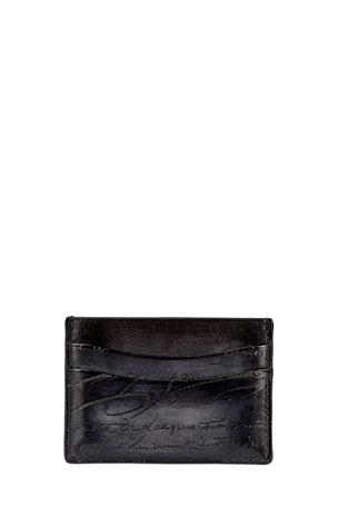 Berluti Bambou Scritto Leather Card Case, Nero