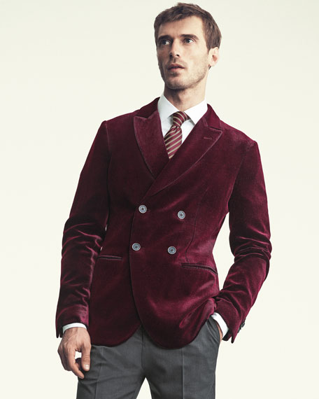 Velvet Double-Breasted Evening Jacket, Red
