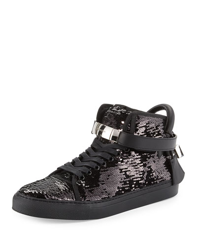 Men's 100mm Sequined High-Top Sneakers  Black