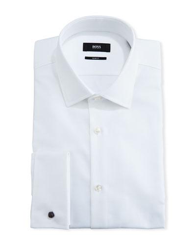 Textured Slim-Fit Dress Shirt, White