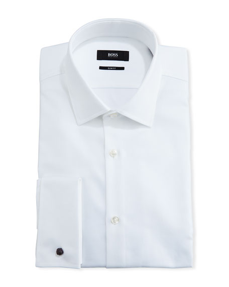 Textured Slim-Fit Dress Shirt, White