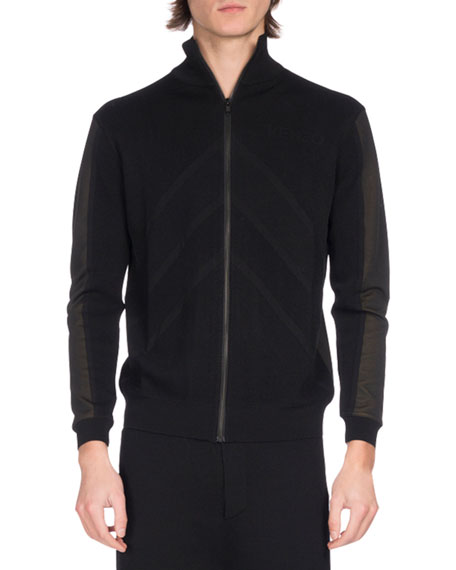 Kenzo Two-Tone Zip-Front Track Jacket, Black