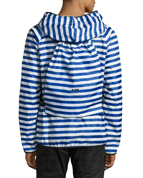 Strett Striped Hooded Zip-Front Jacket with Gym Bag, Blue/White