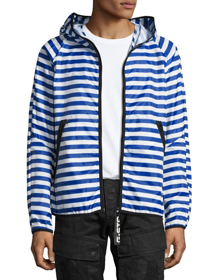 G-Star Strett Striped Hooded Zip-Front Jacket with Gym