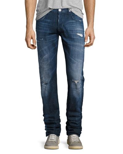 Blake Distressed Slim-Straight Jeans, Medium Blue