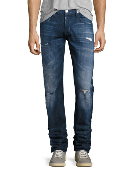 Hudson Blake Distressed Slim-Straight Jeans, Medium Blue