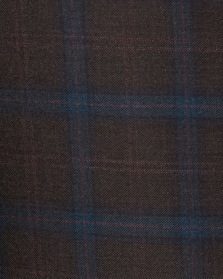 Plaid Super 130s Wool Sport Coat, Brown