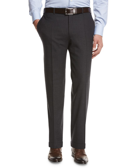Canali Melange Stretch-Wool Trousers, Gray