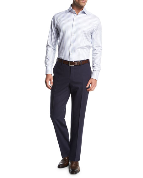 Canali Melange Stretch-Wool Flat-Front Pants, Navy