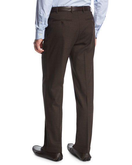 Canali Melange Stretch-Wool Flat-Front Pants, Brown