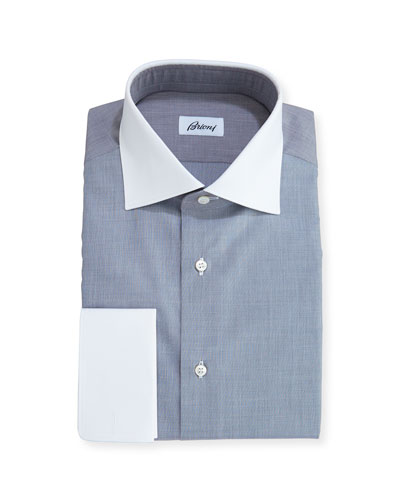 End-on-End Dress Shirt with Contrast Collar & Cuffs, Gray