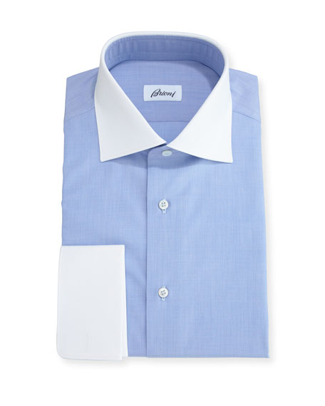 Brioni End-on-End Dress Shirt with Contrast Collar & Cuffs, Blue