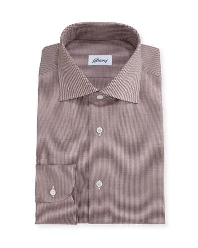 Micro-Houndstooth Dress Shirt, Brown