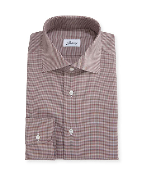 Micro-Houndstooth Dress Shirt, Brown