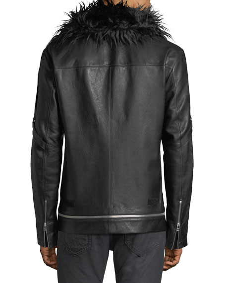 Long Leather Zip-Front Coat