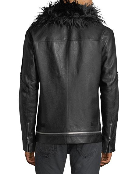 Bandage strap leather jacket