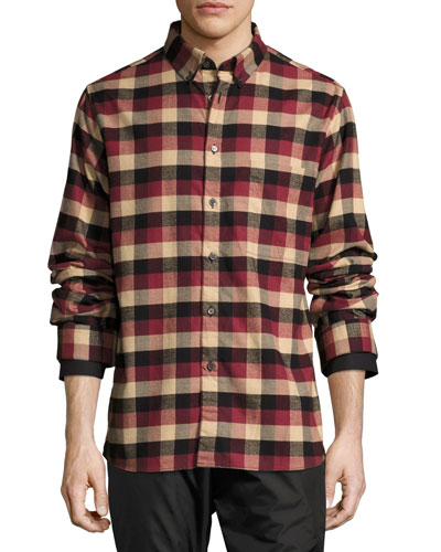 Leto Plaid Flannel Shirt, Burgundy