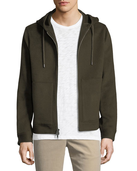 Atm Anthony Thomas Melillo  WOOL FELT ZIP-FRONT HOODIE