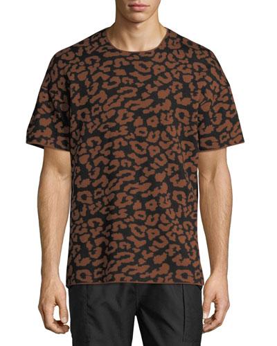 Leopard Jacquard Wool T-Shirt