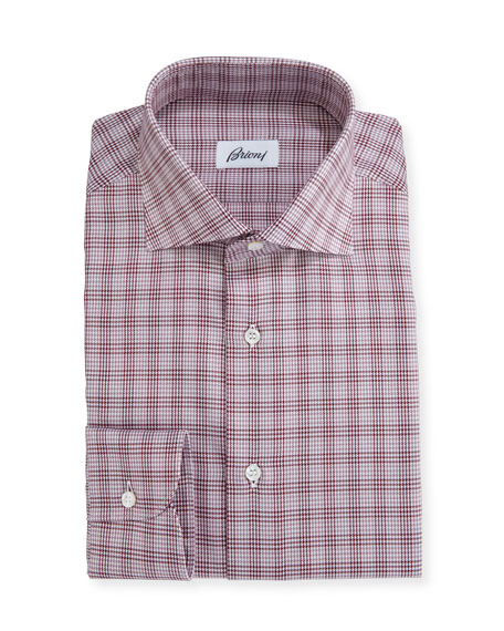 Brioni Houndstooth Plaid Dress Shirt, Red