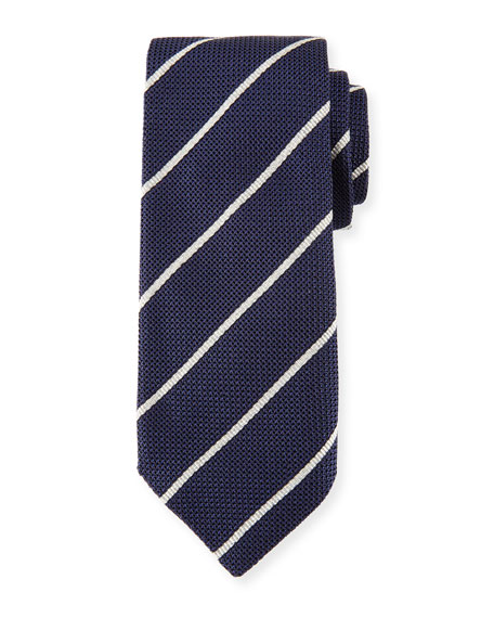 Striped Silk Tie, Navy (Blue)