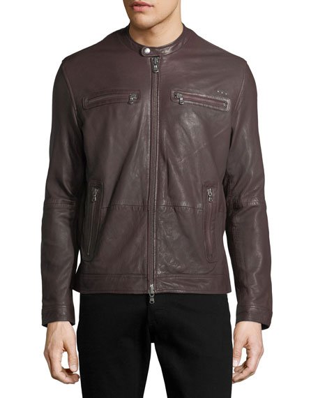Leather Racer Jacket With An