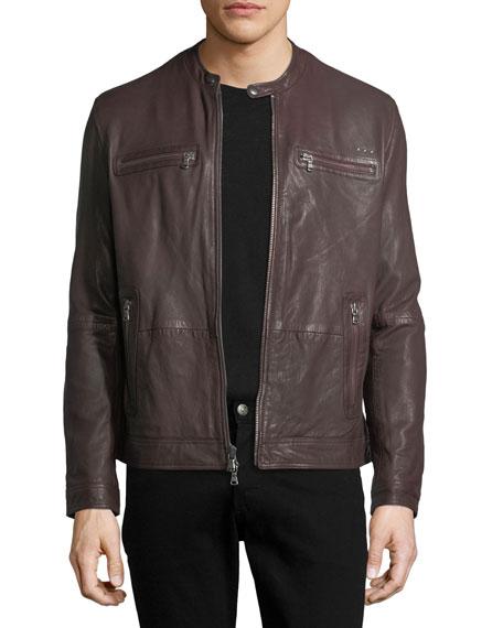 John Varvatos Star USA Leather Racer Jacket With