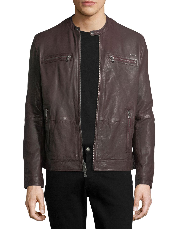 e1fd570fac750 John Varvatos Star USA Leather Racer Jacket | Neiman Marcus