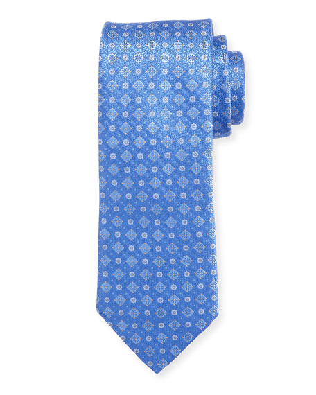 Flower Medallion Silk Tie, Blue