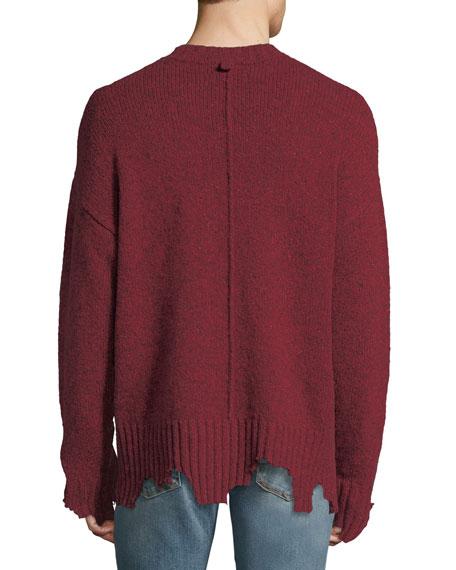 Oversize Distressed Crewneck Sweater