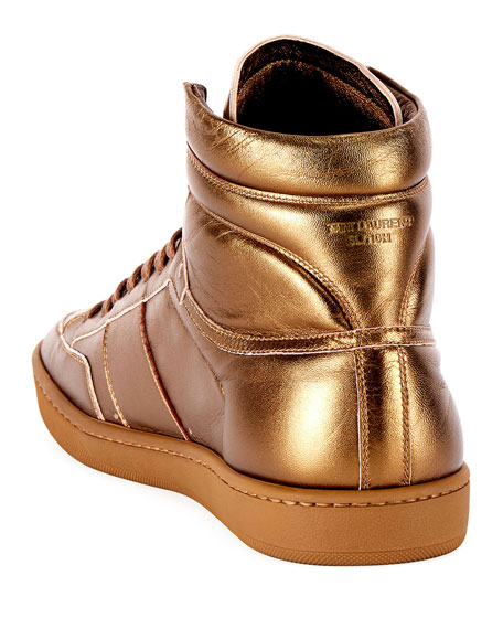 Men's SL/10H Signature Court Classic Metallic Leather High-Top Sneakers, Gold