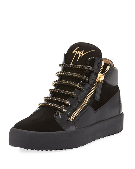 Giuseppe Zanotti Men's Crystal-Lace Velvet & Leather Mid-Top
