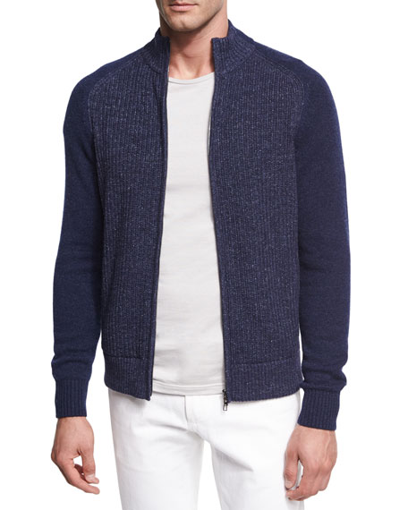 Loro Piana Donegal Cashmere Zip-Front Cardigan