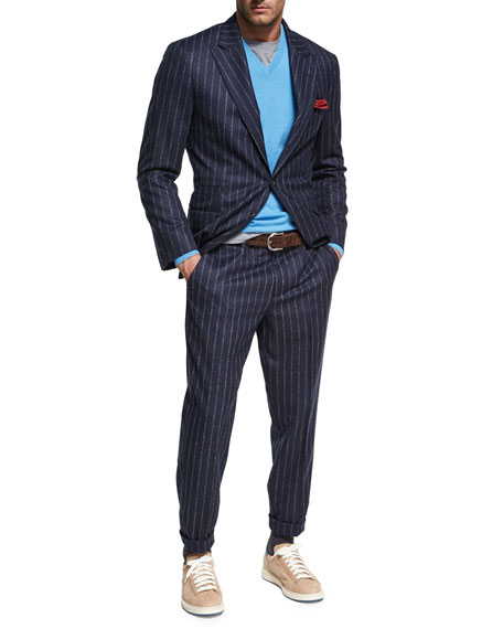 Brunello Cucinelli Chalk-Stripe Wool Two-Piece Suit, Navy