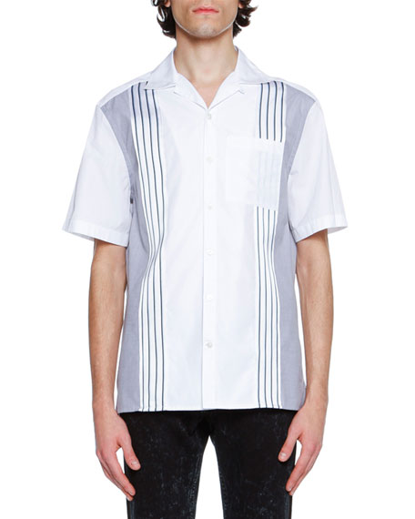 Cotton Bowling Shirt with Grosgrain Stripes, White