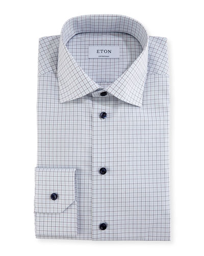 Check Dress Shirt with Navy Buttons